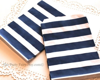 Paper Bags, 24 Navy Sailor Striped Favor Bags, Navy Paper Bags, Treat Bags, Nautical Baby Shower, Preppy Girl Party Favor Bag, Bakery Bags