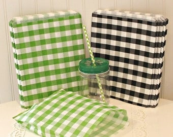 Minecraft Party Favor Bags, 20 Minecraft Party Treat Bags, Green and Black Check Paper Bags, Hamburger Sandwich Bag, Candy Bags, Party Favor