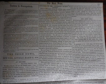 1858 Antique THE IRISH NEWS March 13 Newspaper Death of Commodore Matthew Perry