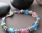Holli Crystal Beaded Bracelet - Swarovski Crystal with Sterling Silver