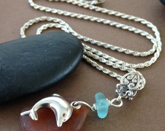 Low Tide Sea Glass Pendant - Sterling Silver Dolphin with Sea Glass Necklace