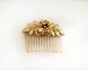 Amber Floral Comb, Bridal Hair Accessories, Gold Flower Comb, Pearl Comb, Wedding Headpiece, Bridal Hair Comb, Romantic, Rustic Woodland