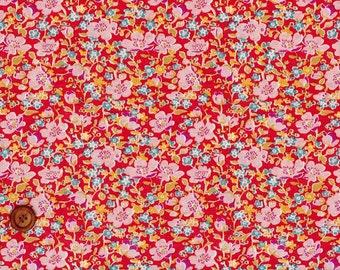 Liberty Tana Lawn Fabric, Liberty of London, Liberty Japan, John, Red, Cotton Floral Print Scrap, Quilt Fabric, Patchwork Fabric, kt5052z