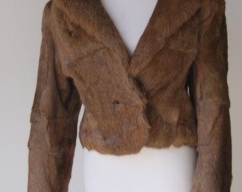 Vintage 1980s Brown Rabbit Fur Cropped Jacket
