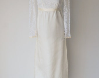 Vintage 1960s Boho Empire Waist Lace Long Sleeved White and Ivory Wedding Gown or Rehearsal Dress ... Something Old