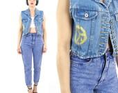 Vintage Cropped Denim Vest 90s Painted Denim Vest Button Down Shrunken Fit Petites Jean Vest Grunge Hippie Festival Top (XS/S)