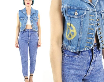 Vintage Cropped Denim Vest 90s Painted Denim Vest Button Down Shrunken Fit Petites Jean Vest Grunge Hippie Festival Top (XS/S)
