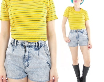 90s Striped Tshirt Stretchy Ribbed Tshirt Striped Yellow Tshirt Soft Ribbed Tee Womens Vintage Sporty Normcore Tee Blue Striped Top (XS/S)