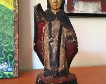 Antique Ecuador Painted Carved Wood Religious Statue St. Teresa of Avila Statue