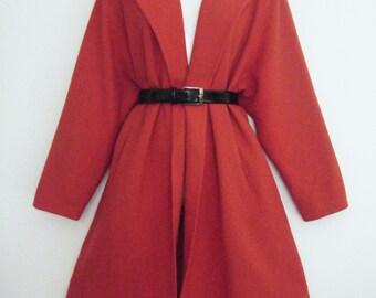 50s maraschino cherry PINK wool SWING COAT, size osfm
