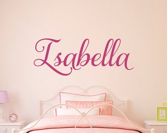 Girl Name Decal - Personalized Name Script Font - Girl Bedroom Wall Art - 3
