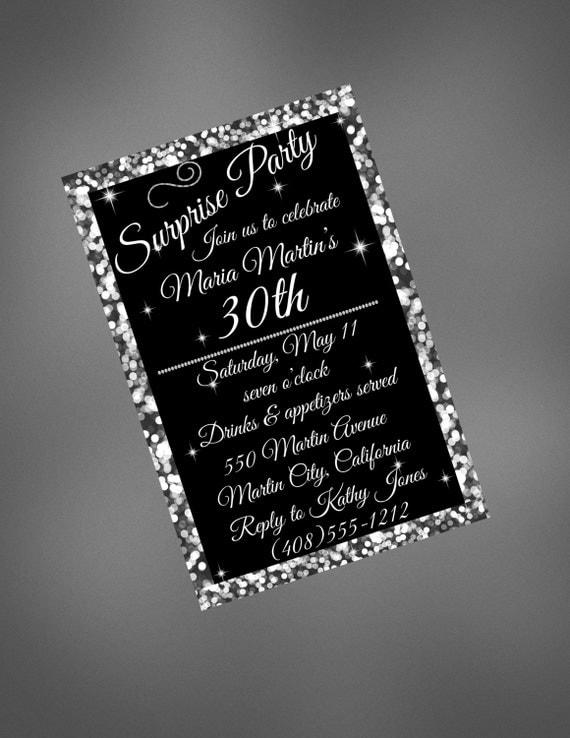 30th birthday invitation 30th black and silver invitation