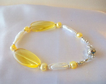 Yellow Pearls and White Fresh Water Stick  Bracelet   Magnetic Clasp   Free Shipping in the USA  Free Earrings