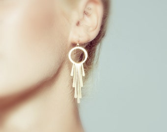 Gold Tassel Earrings, Tiered Tassel Earrings, Gold Long Earrings, Gold Dangle Earrings, Goddess Earrings, Gift for her, Elegant Earrings..