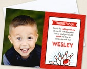 Bowling Photo Thank You Cards - Professionally printed *or* DIY printable