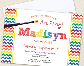 Art Party Invitations - Professionally printed *or* DIY printable