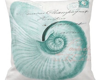 Pillow Cover Turquoise Nautilus Shell