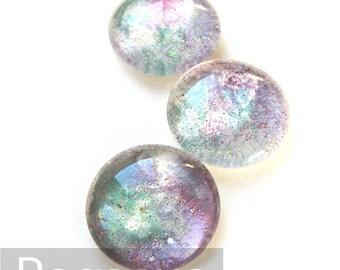 Hydrangea Purple Glass Round Opal Cabochon (3 Piece,6 size options) Fairy jewel gem for wedding,cosplay,elven costume,steampunk jewelry,larp