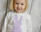 Girls Purple Gingham Easter Bunny Shirt with White Cottontail