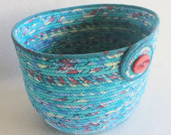 Rope Coiled Basket / Coiled Clothesline / Knitting Bowl / Plant Pot / Mad About Plaid Aqua Extra Large Oval by PrairieThreads