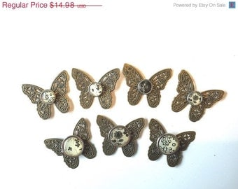 Brass Butterfly Filigree Findings upcycled Stampings for Jewelry Card making Scrapbook set of 7 Recovery