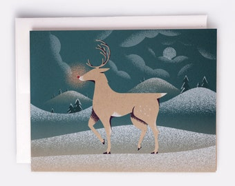 "Rudolph Holiday Card - 100% Recycled French Paper Speckletone Kraft, Vintage Inspired, 4.25"" x 5.5"" A2"