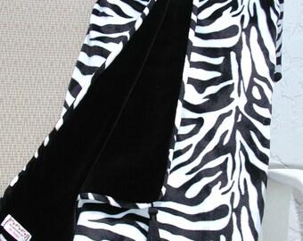 Luxurious Black and White Zebra Throw Blanket Lined in Black Velvet