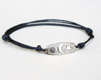 Moon Star and Planet Bracelet, Moon Star and Planet Anklet (Many color to choose)