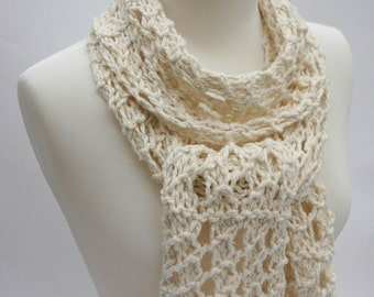 Cotton & Llama Scarf/ Hand Knit/  Cream/ White