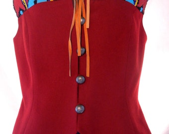 Beaded Southwest Vest Top, Hairston Robertson Ropa, Wine Red Wool, Turquoise Beads, Leather Fringe, Size 4