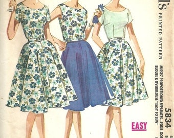 McCalls 5834 / Vintage 60s Sewing Pattern / Proportioned Fit / Size 14 Bust 34 / Skirt Blouse Jacket