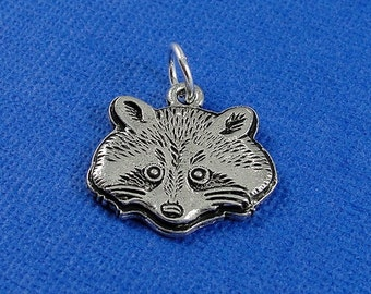 Raccoon Charm - Silver Raccoon Face Charm for Necklace or Bracelet