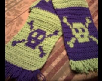 Skull and Crossbones Scarf Crochet Pattern