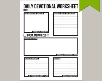 daily devotional: prayer and scripture study worksheet
