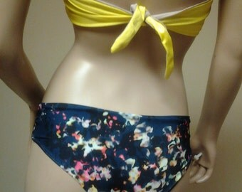 New Deja Cheeky Hipster Bikini Bottoms in Navy Floral BOTTOMS  ONLY Made to Order