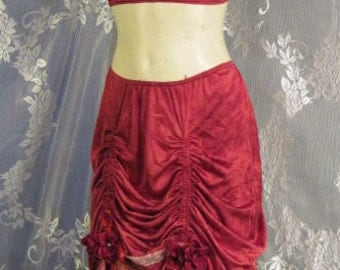 Crimson Hand Dyed Burlesque Bellydance Two Piece Costume