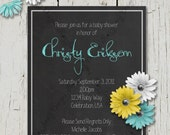 Rustic Baby Shower Invitation, Flower Baby Shower Invite, Wood and Flower Invitation, Rustic Invitation, Country Baby Shower, Country Invite