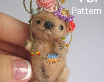 Miniature bear PATTERN PDF, make your own mini teddy bear, easy stuffed animals to sew, how to make stuffed toys, plushie toy patterns