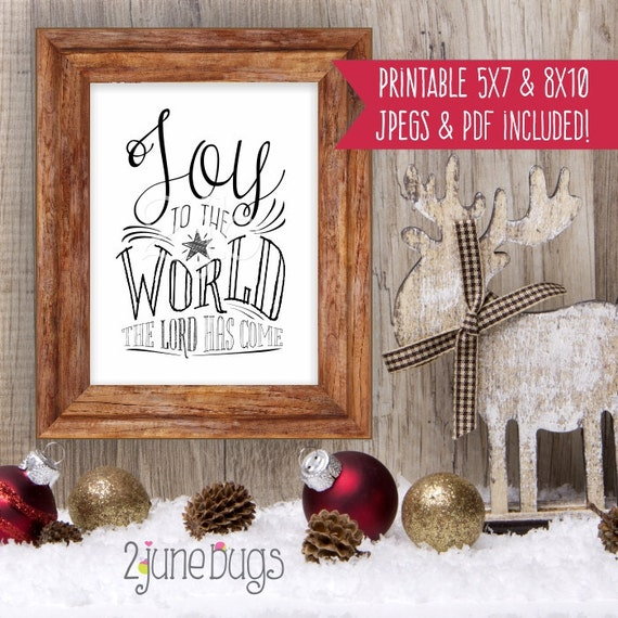 INSTANT DOWNLOAD Digital Printable CHRISTMAS Carol religious wall art decor gift Joy to the World - by 2 june bugs