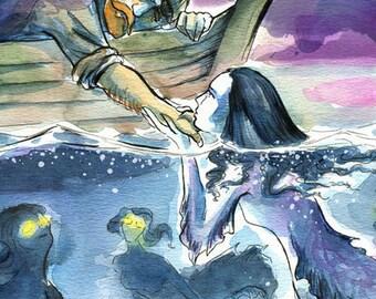 The Mermaid and the Fisherman - Fine Art Print
