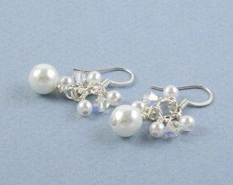 All White Cluster Earrings, White Dangle Earrings, Bridal Earrings