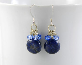 Blue Lapis Lazuli Dangle Earrings with Swarovski Crystals, Sterling Silver Earrings