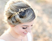Double Flower Vine Headband - A Delicate Floral Headband, Gold Flower and Leaf Vine hair accessory
