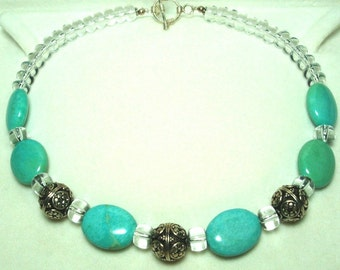 Turquoise Choker Necklace with Sterling Bali Beads Crystal Beads and Sterling Turquoise Choker w Sterling