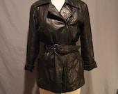 Vintage Black Belted Butter Soft Lambskin Leather Jacket