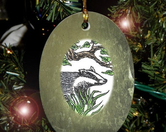 Badger Totem Animal Yule, Holiday, Christmas Ornament