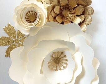 Paper Flower Wall Decor, large paper flower backdrop, paper flowers in cream and gold