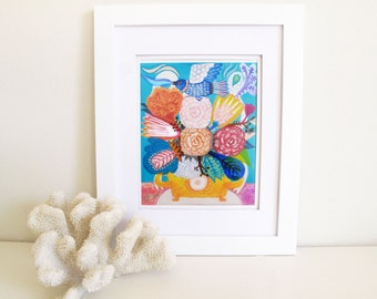 JOY- Flowers -Art Print. Wildflowers, art painting flowers, bohemian, folk, funky, naive, primitive.