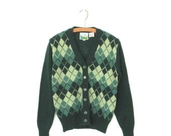 Vintage Argyle Sweater * 70s Cardigan Sweater * Green Boyfriend Cardi * Large