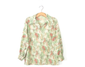 Vintage 70s Blouse * Green Floral Shirt * 1970s Tunic Top * Large